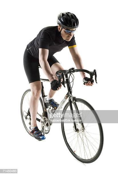 Mature man cycling
