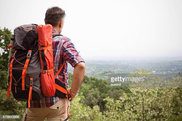Reifer Mann Wandern im Wald.