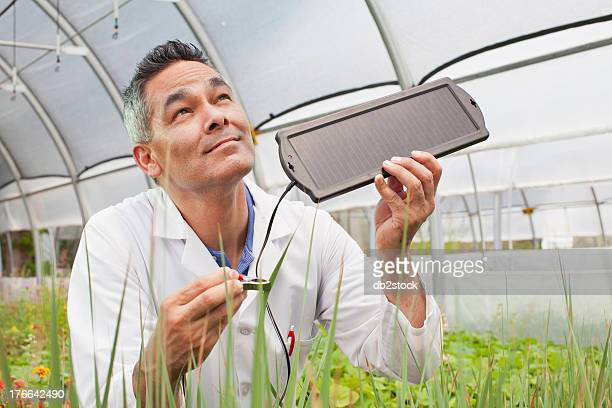 Mature man holding solar panel over plants in greenhouse