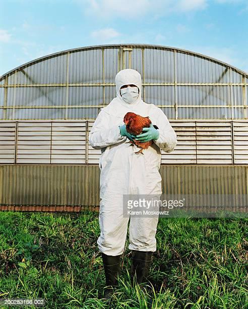 Mature man in clean suit holding chicken on farm, portrait