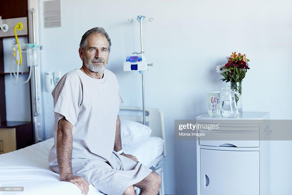 Mature man in hospital ward