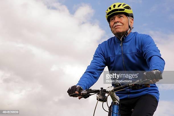 Mature man on a bike