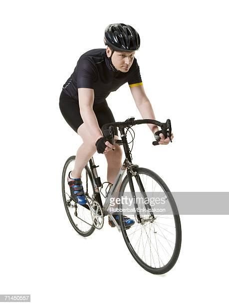 Mature man on a racing bicycle