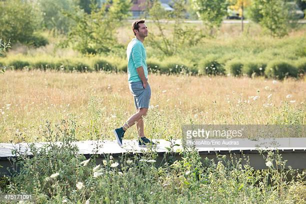 Mature man on countryside walk