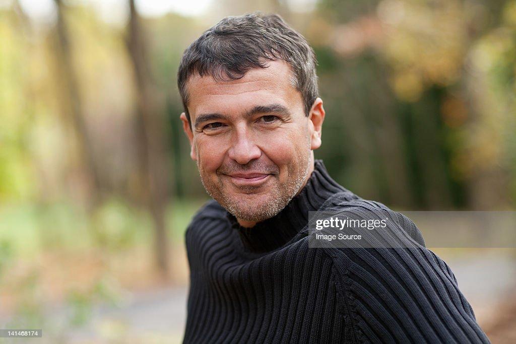 Mature man outdoors : Stock Photo