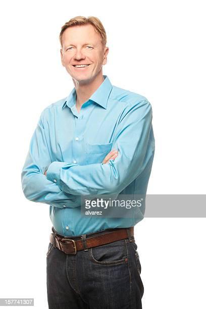 Uomo maturo portraited isolato su bianco