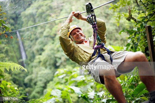 Mature Man Rappelling