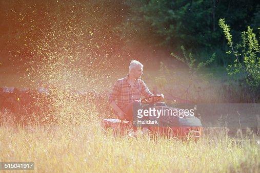 Mature man riding lawn mower in garden
