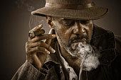 Mature Man Smoking Cigar Wearing Vintage Hat