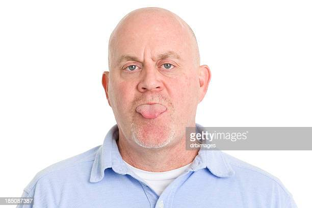 Mature Man Sticks Out Tongue