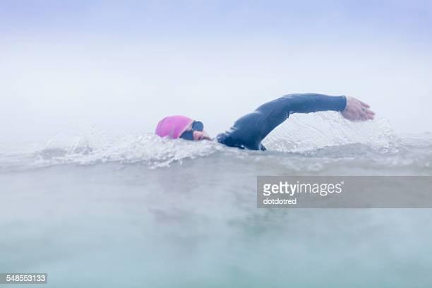 Mature man swimming in the sea