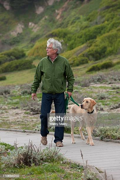 Mature man walking yellow dog on nature trail.