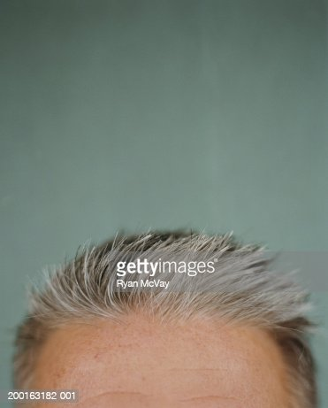 Mature man's forehead, close-up