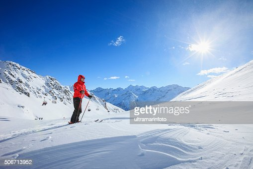 Mature men snow skier  Off piste skiing    Sunny ski resorts