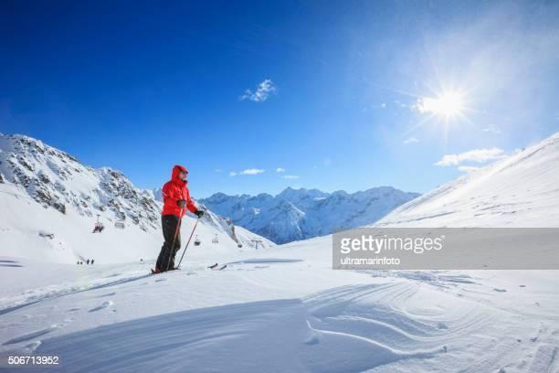 Mature men snow skier  Off piste skiing    Sunny ski resorts