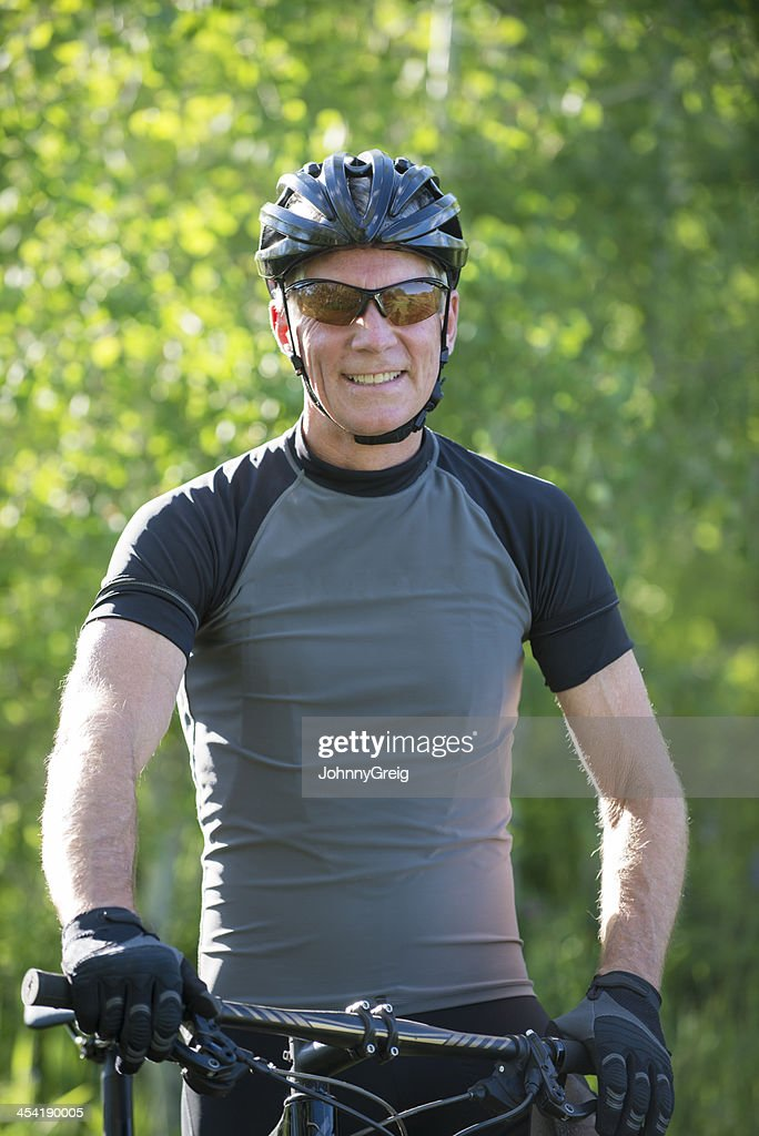 Mature Mountain Biker : Stock Photo