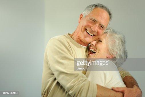 Mature senior couple hugging. : Stock Photo