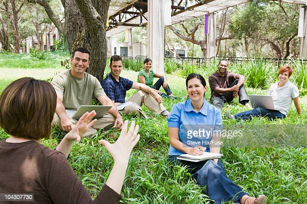 Mature students in an outdoor class