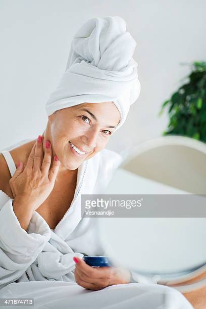 Mature woman and body care