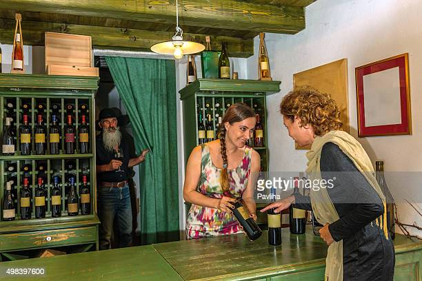 Mature Woman Choosing Wine, Cellar in Brda,Slovenia, Europe