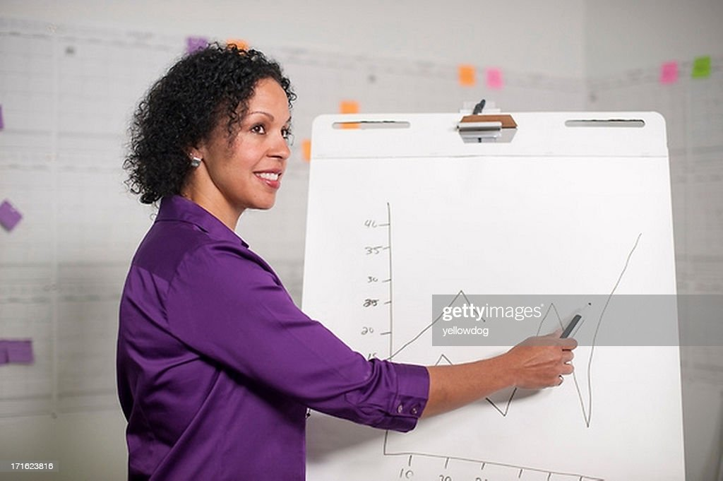 Mature woman giving presentation