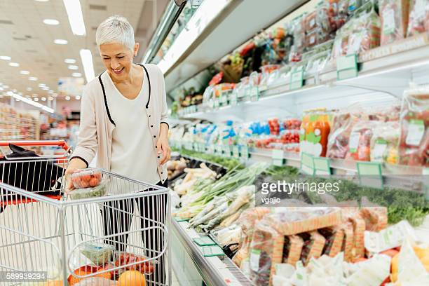 Mature Woman Groceries Shopping.