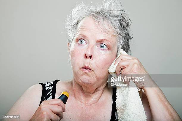 mature woman hot flash menopause portrait