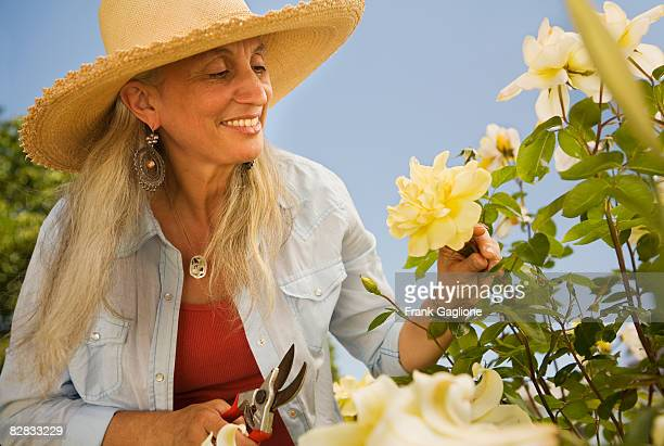 Mature Woman in Her Garden
