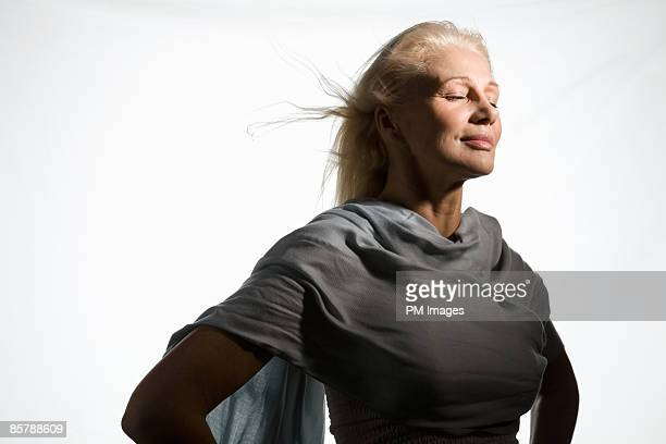 Mature Woman in wind.