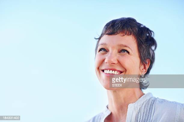 Mature woman looking at something