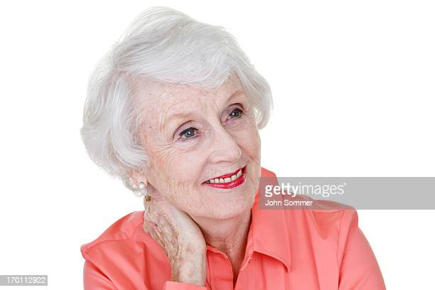 Mature woman looking to copy space