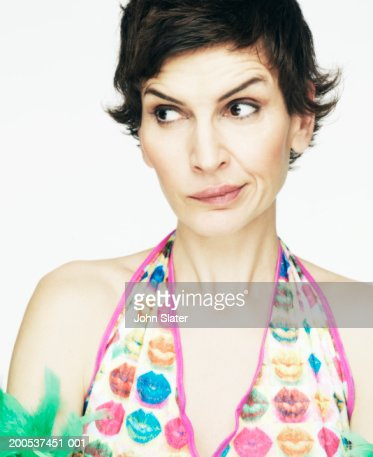 Mature woman making funny face, close-up : Stock Photo