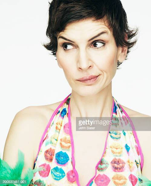Mature woman making funny face, close-up