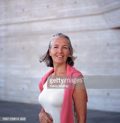 Mature woman outdoors, portrait : Stock Photo