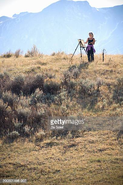 Mature woman painting on easel in rural area, side view