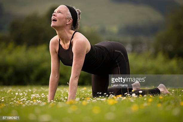 Mature woman practicing yoga cat pose in field