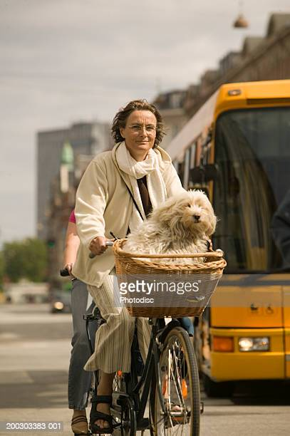 Mature woman riding bicycle on street, dog sitting in basket