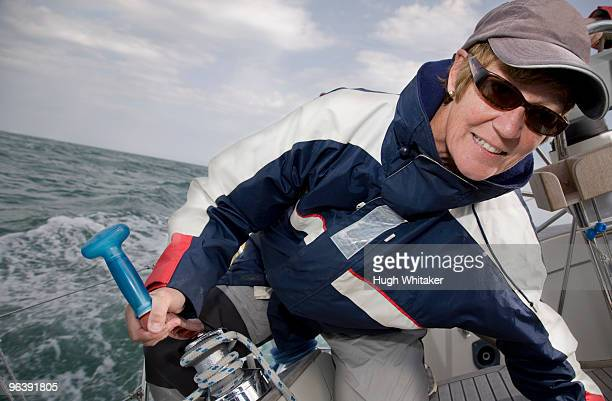 Mature woman sailing