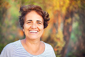 Mature Turkish Woman Smiling at the park
