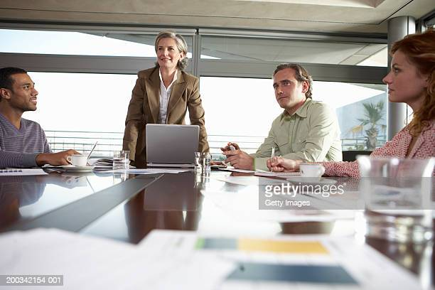 Mature woman standing in business meeting with seated colleagues