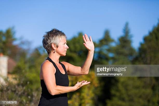 mature woman tai chi fitness