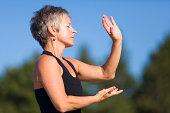 mature woman tai chi fitness
