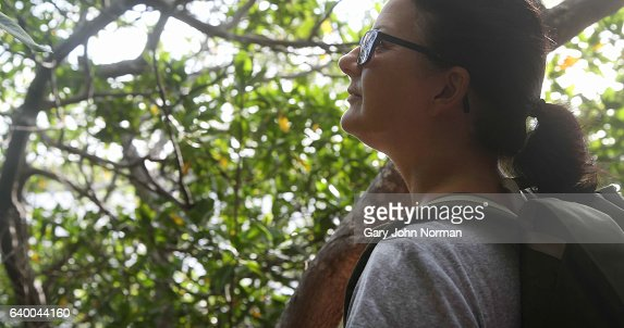 Mature woman walking in nature park stops to look at scenery.