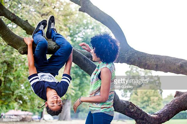 Mature woman watching son upside down on park tree branch