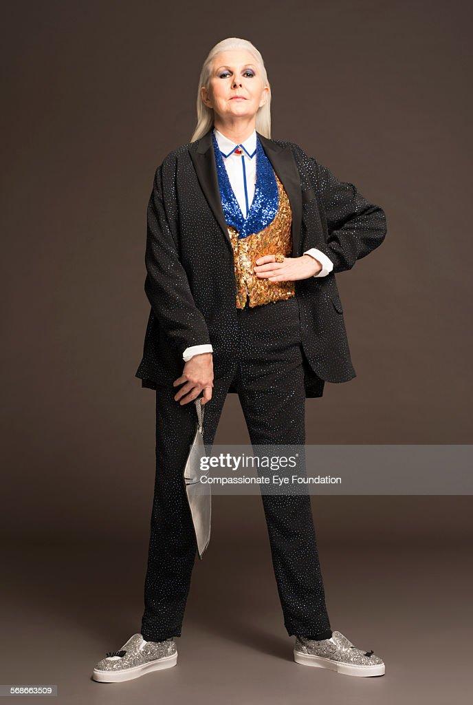 Mature woman wearing stylish clothes : Stock Photo