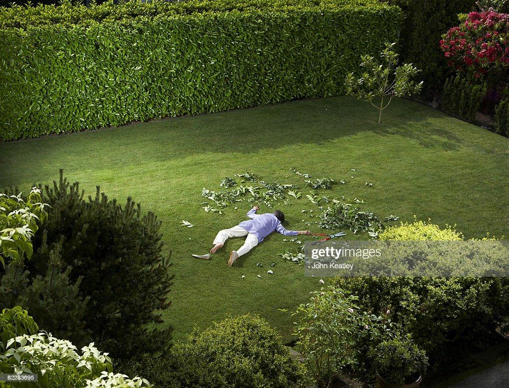 Mature woman who has fallen in backyard