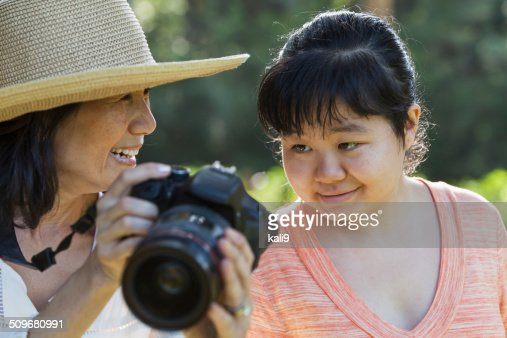 Mature woman with adult autistic daughter