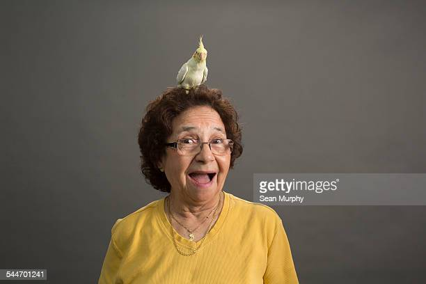 Mature Woman with Cockatiel on her Head