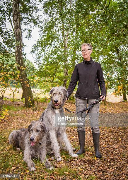 Mature woman with two gigantic Irish Wolfhounds in the autumn forest