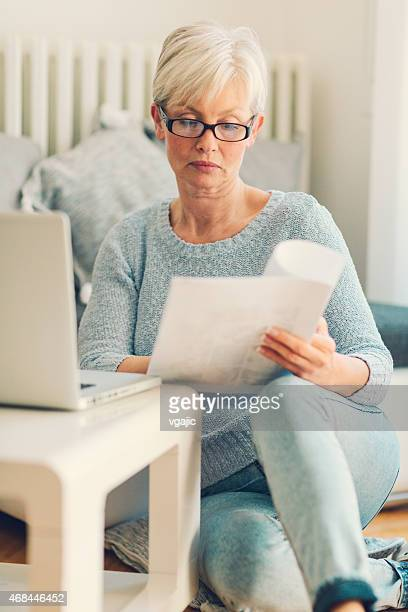 Mature Woman Working From Home.